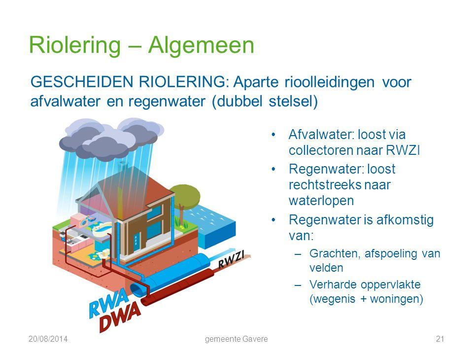Riolering – Algemeen GESCHEIDEN RIOLERING: Aparte rioolleidingen voor afvalwater en regenwater (dubbel stelsel)