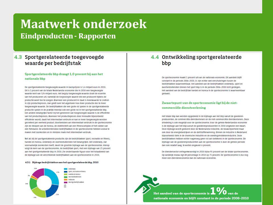 Maatwerk onderzoek Eindproducten - Rapporten