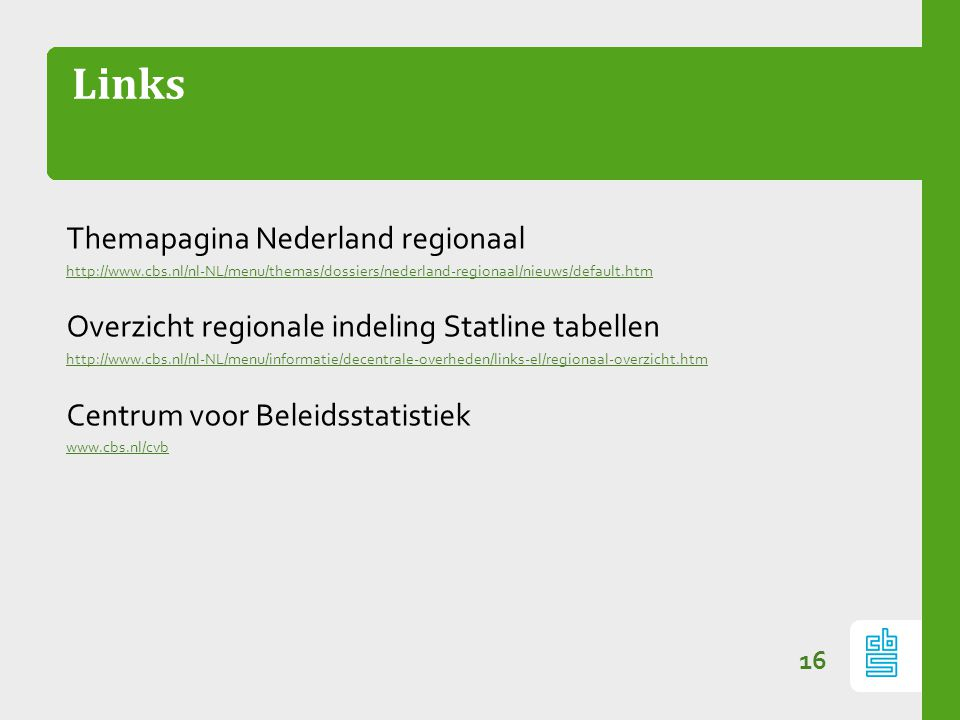 Links Themapagina Nederland regionaal