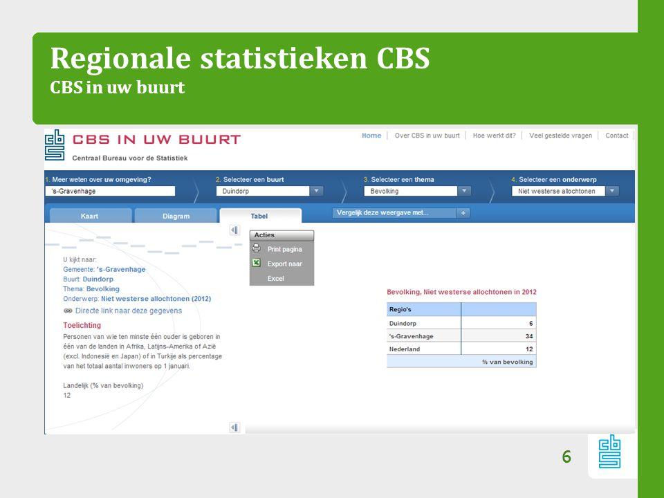 Regionale statistieken CBS CBS in uw buurt