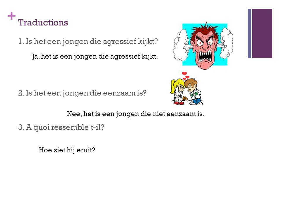 Traductions 1. Is het een jongen die agressief kijkt 2. Is het een jongen die eenzaam is 3. A quoi ressemble t-il