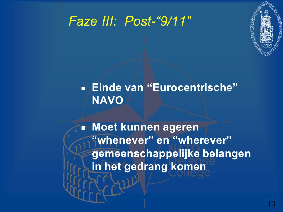 Faze III: Post- 9/11 Einde van Eurocentrische NAVO