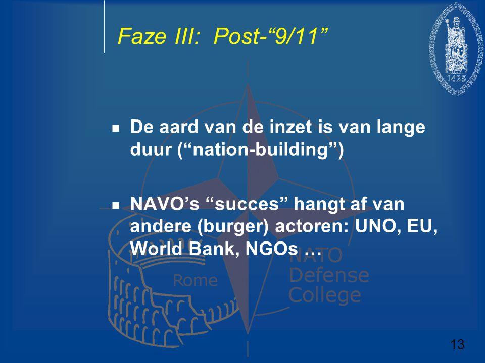 Faze III: Post- 9/11 De aard van de inzet is van lange duur ( nation-building )