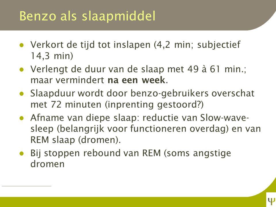 Benzo als slaapmiddel Verkort de tijd tot inslapen (4,2 min; subjectief 14,3 min)