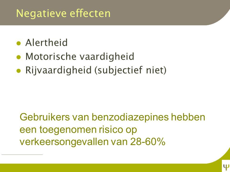 Negatieve effecten Alertheid. Motorische vaardigheid. Rijvaardigheid (subjectief niet)