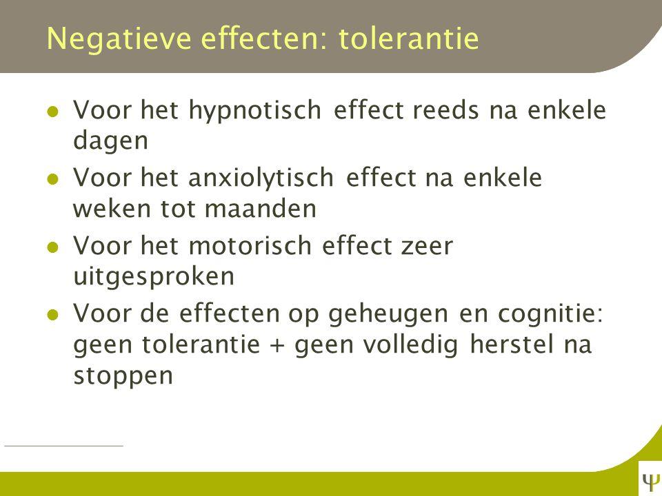 Negatieve effecten: tolerantie