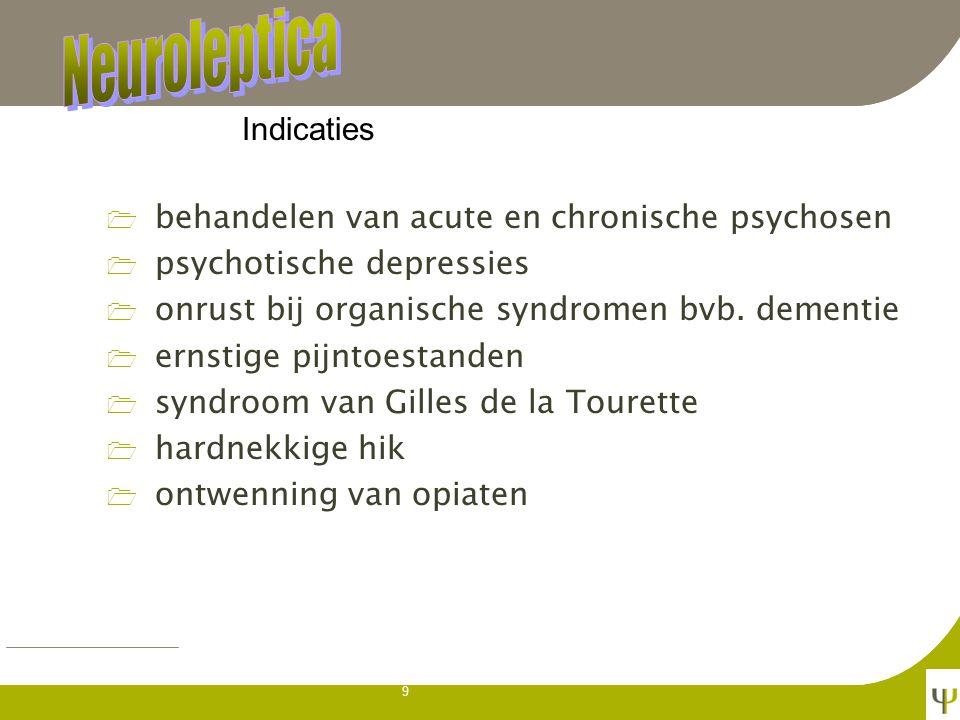 Neuroleptica Indicaties. behandelen van acute en chronische psychosen. psychotische depressies. onrust bij organische syndromen bvb. dementie.