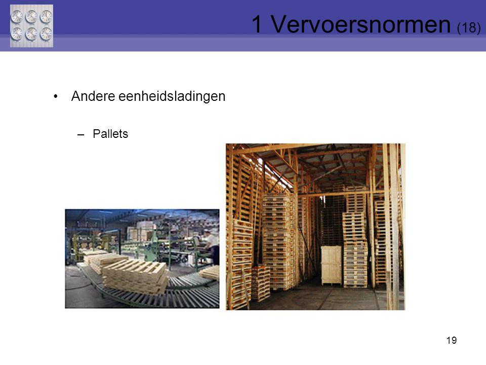 1 Vervoersnormen (18) Andere eenheidsladingen Pallets