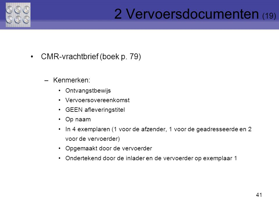 2 Vervoersdocumenten (19)