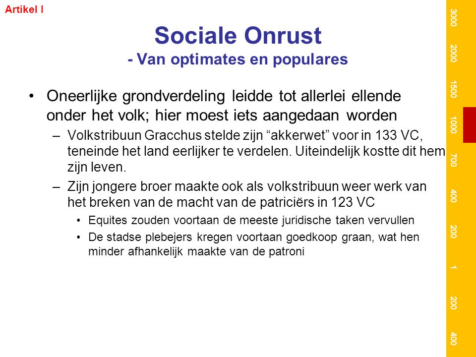 Sociale Onrust - Van optimates en populares