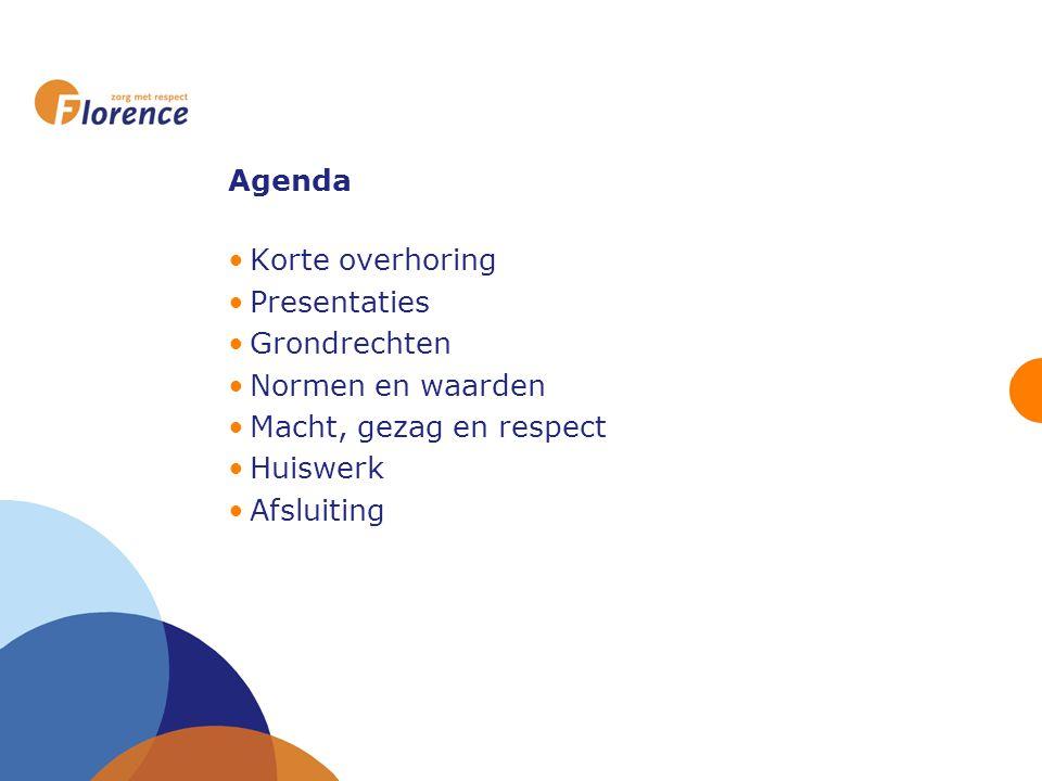 Agenda Korte overhoring. Presentaties. Grondrechten. Normen en waarden. Macht, gezag en respect.