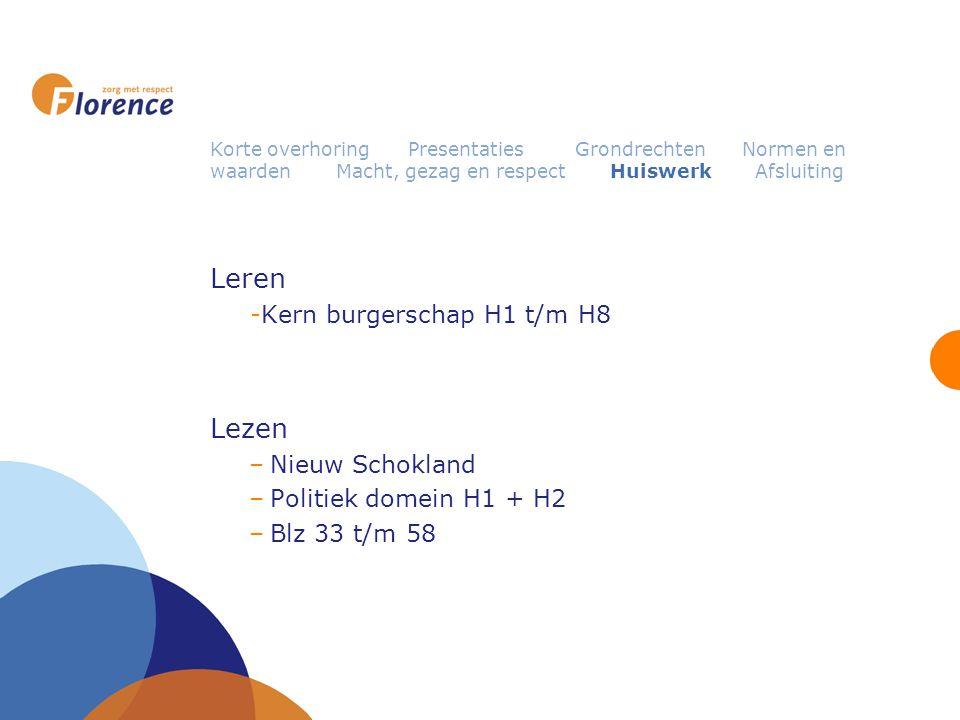 Leren Lezen Kern burgerschap H1 t/m H8 Nieuw Schokland