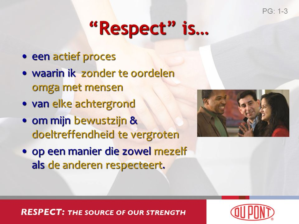 Respect is… een actief proces