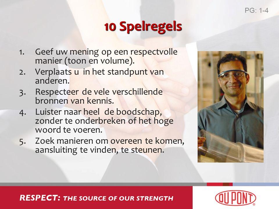PG: 1-4 10 Spelregels. Geef uw mening op een respectvolle manier (toon en volume). Verplaats u in het standpunt van anderen.
