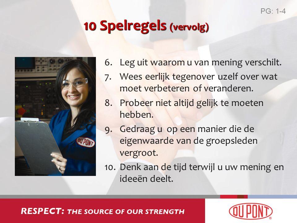 10 Spelregels (vervolg) Leg uit waarom u van mening verschilt.