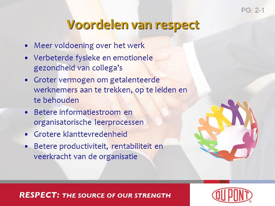 Voordelen van respect Meer voldoening over het werk