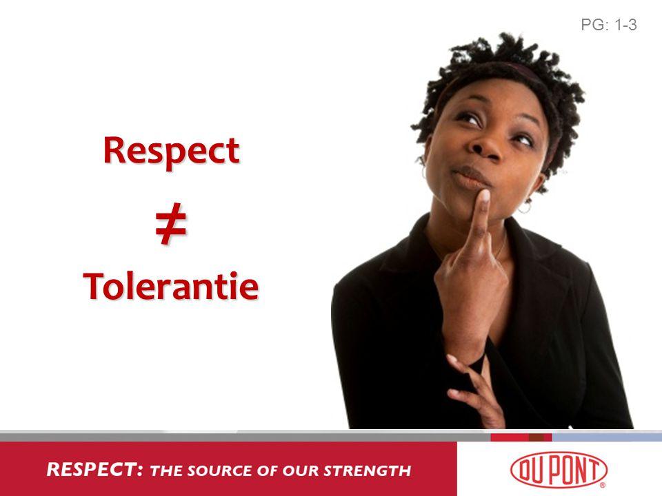 PG: 1-3 Respect ≠ Tolerantie