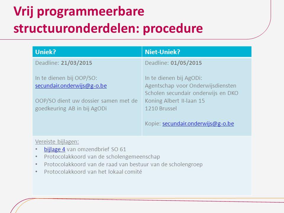Vrij programmeerbare structuuronderdelen: procedure
