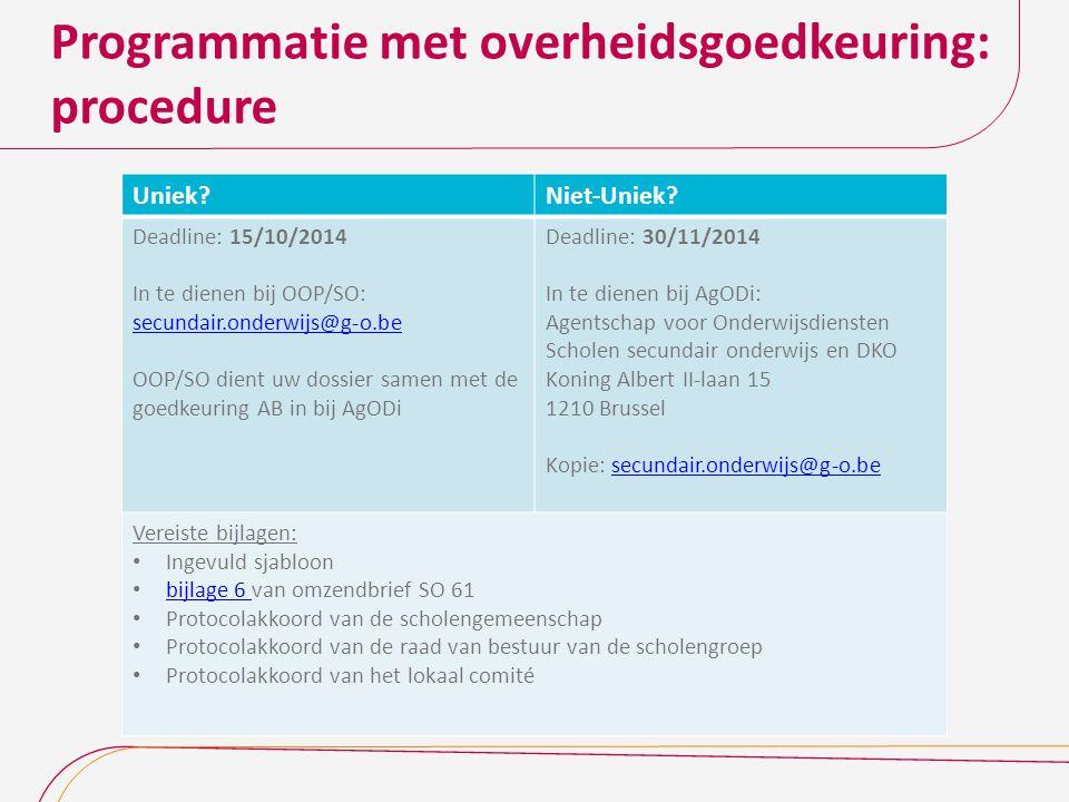 Programmatie met overheidsgoedkeuring: procedure
