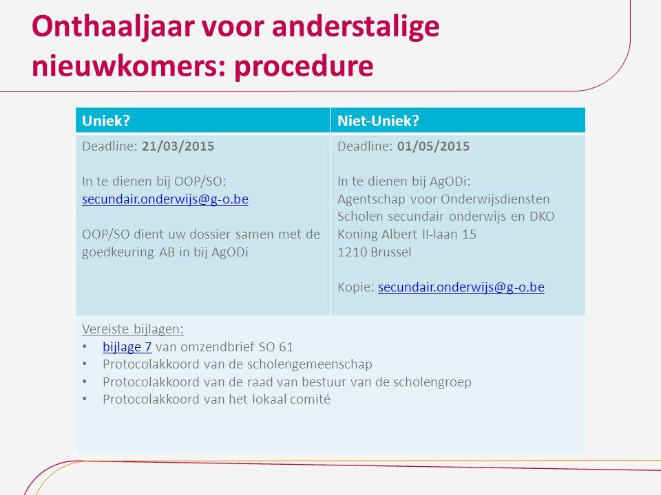 Onthaaljaar voor anderstalige nieuwkomers: procedure