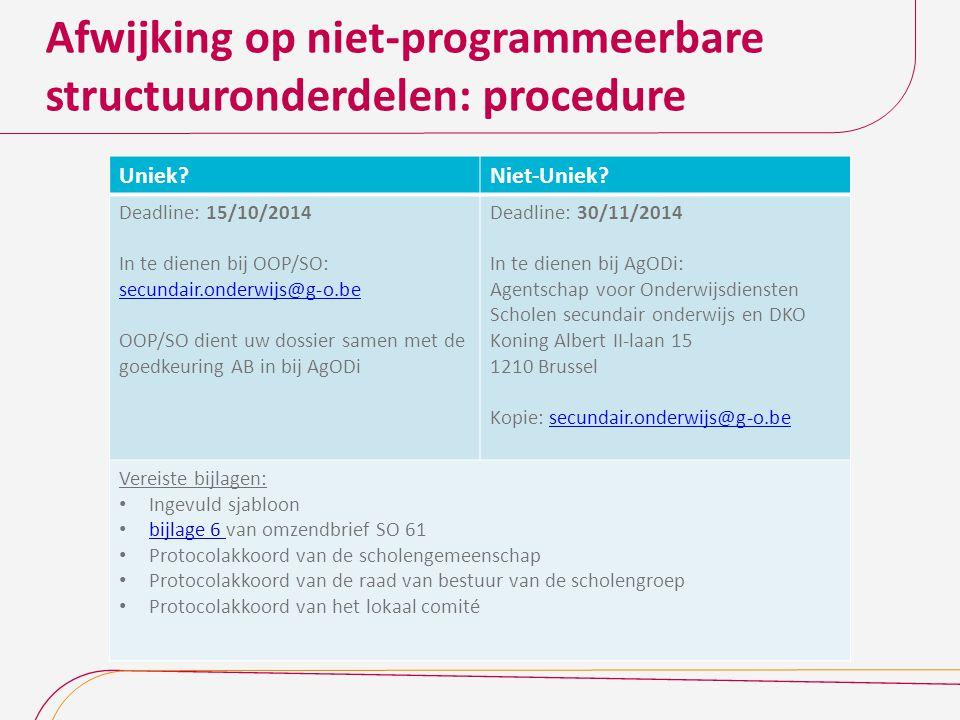 Afwijking op niet-programmeerbare structuuronderdelen: procedure