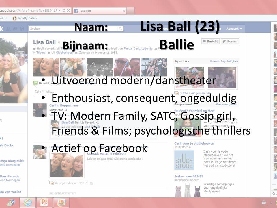 Naam: Lisa Ball (23) Bijnaam: Ballie