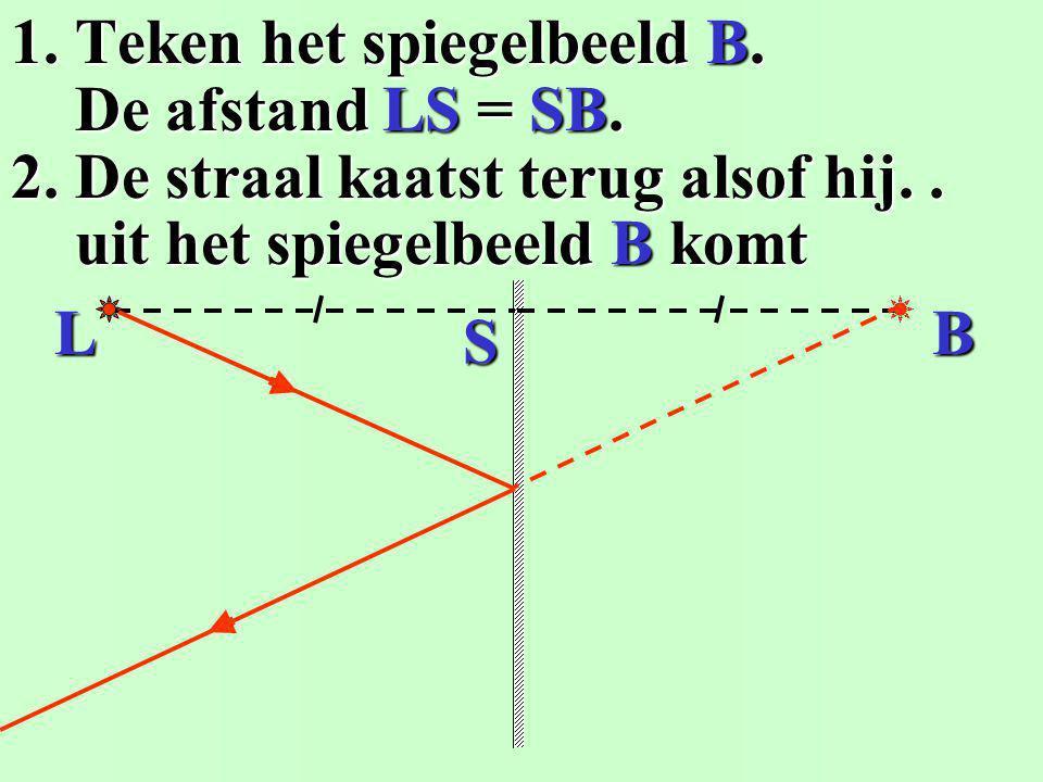 1. Teken het spiegelbeeld B.