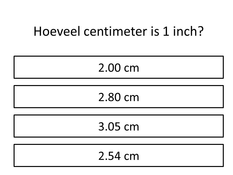 Hoeveel centimeter is 1 inch