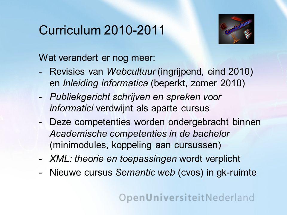 Curriculum 2010-2011 Wat verandert er nog meer: