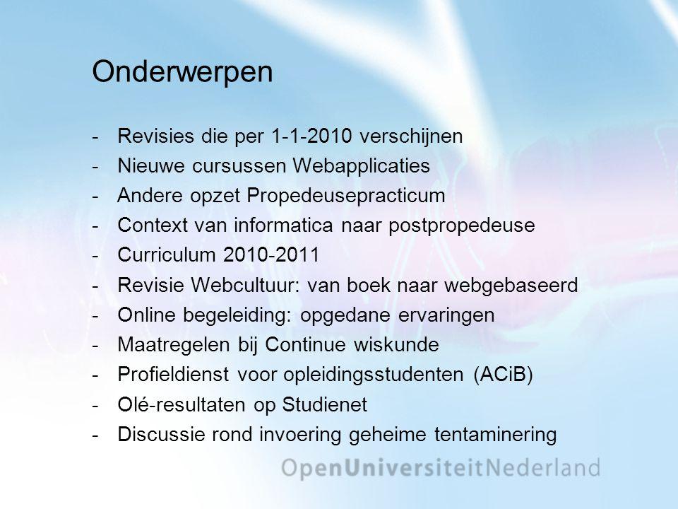 Onderwerpen Revisies die per 1-1-2010 verschijnen