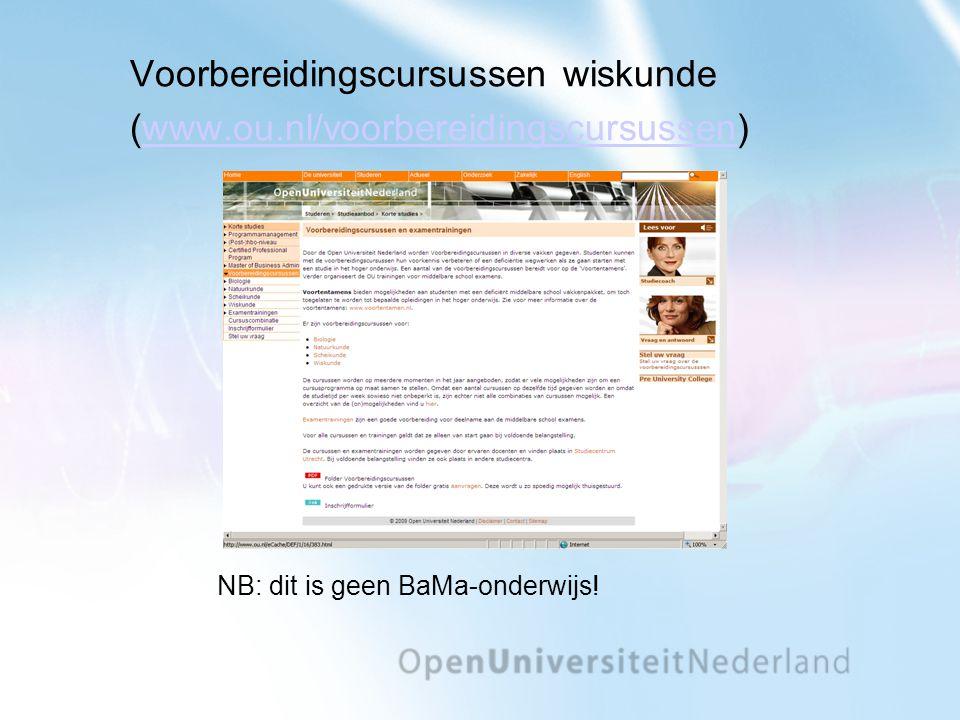 Voorbereidingscursussen wiskunde (www.ou.nl/voorbereidingscursussen)