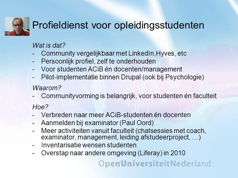 Profieldienst voor opleidingsstudenten