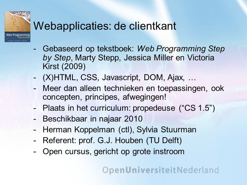 Webapplicaties: de clientkant