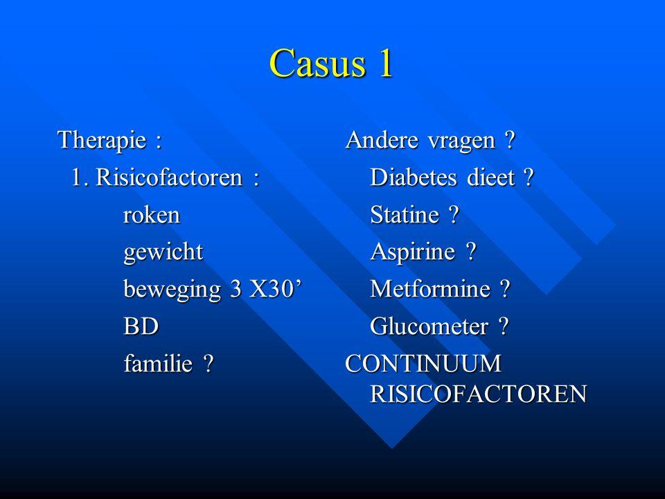 Casus 1 Therapie : 1. Risicofactoren : roken gewicht beweging 3 X30'