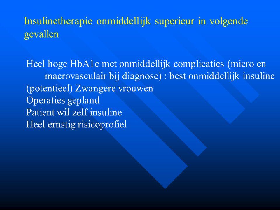 Insulinetherapie onmiddellijk superieur in volgende gevallen