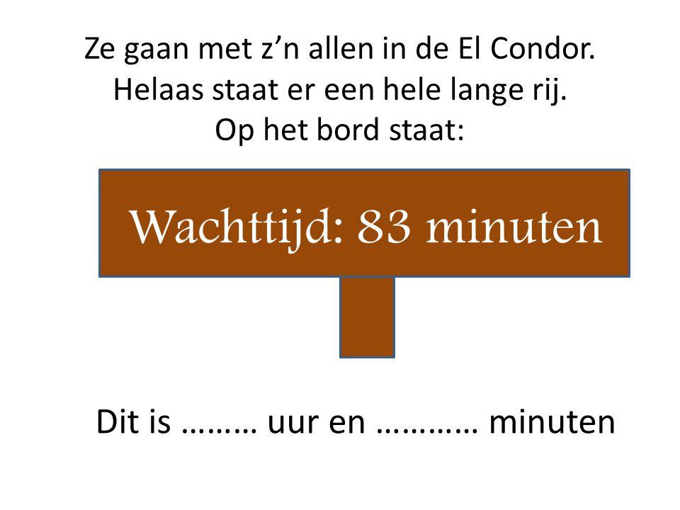 Wachttijd: 83 minuten Dit is ……… uur en ………… minuten
