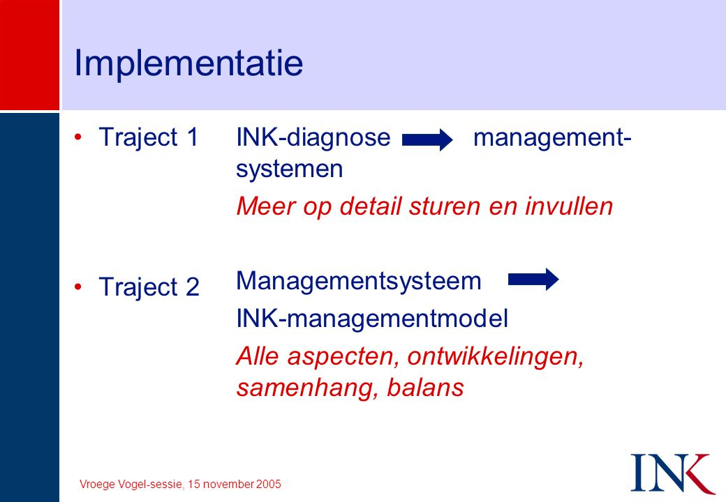 Implementatie Traject 1 Traject 2 INK-diagnose management-systemen