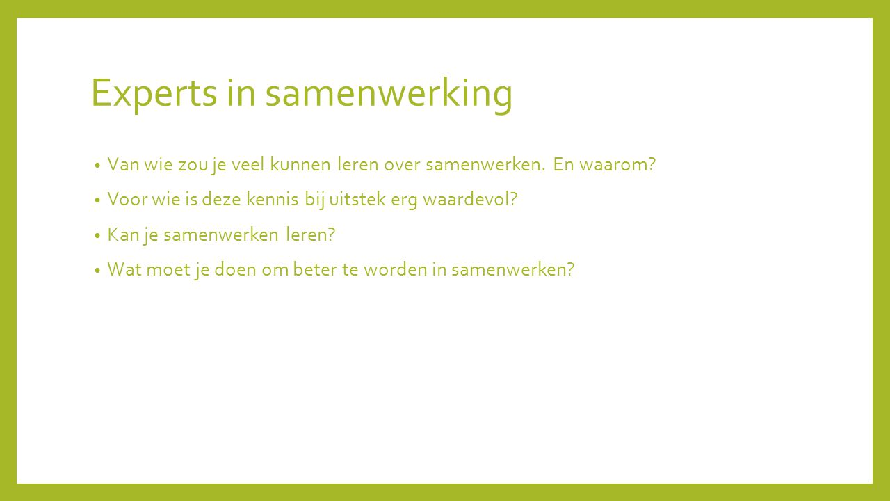 Experts in samenwerking