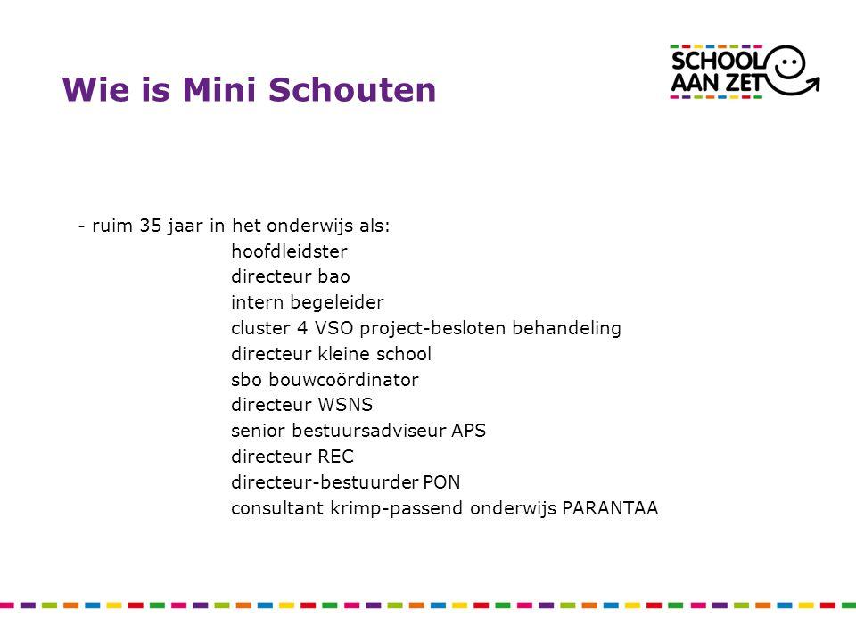 Wie is Mini Schouten - ruim 35 jaar in het onderwijs als: