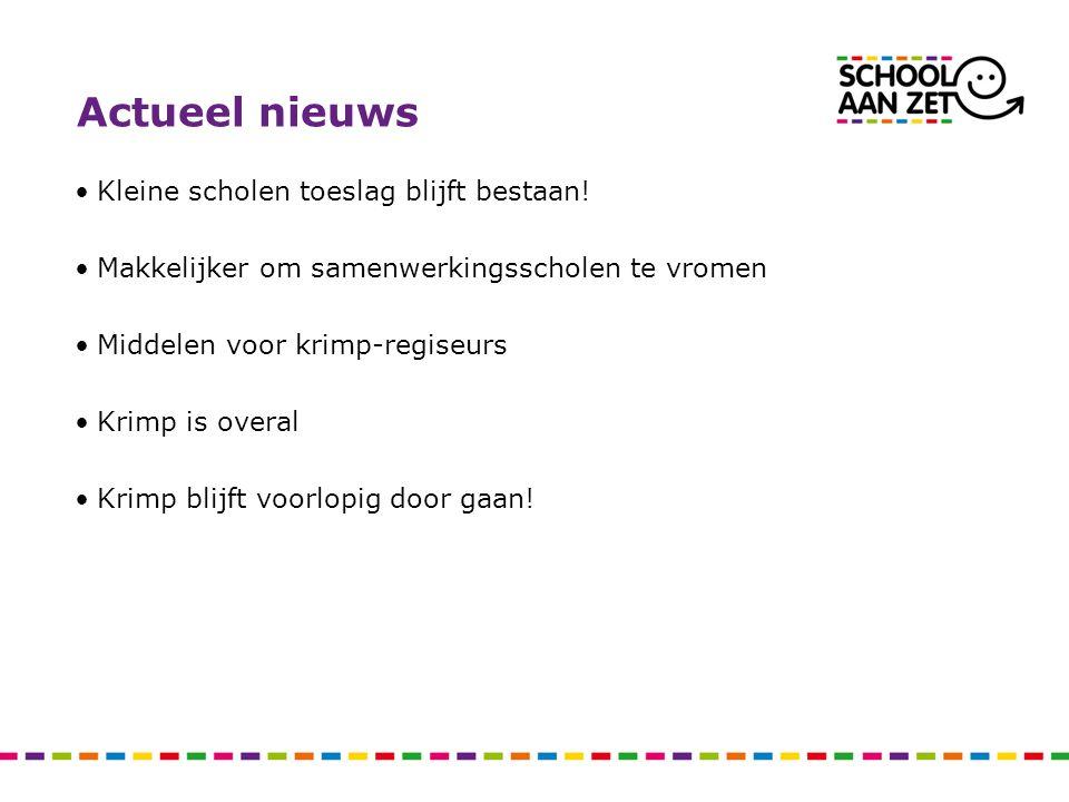 Actueel nieuws Kleine scholen toeslag blijft bestaan!