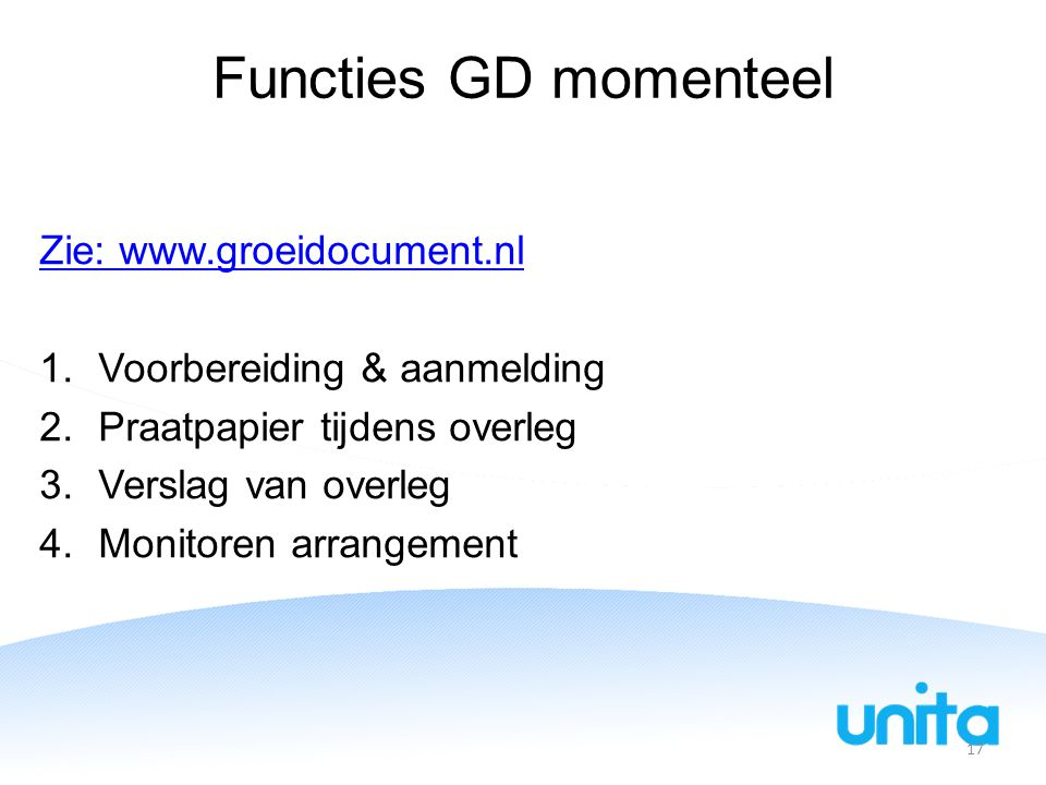 Functies GD momenteel Zie: www.groeidocument.nl