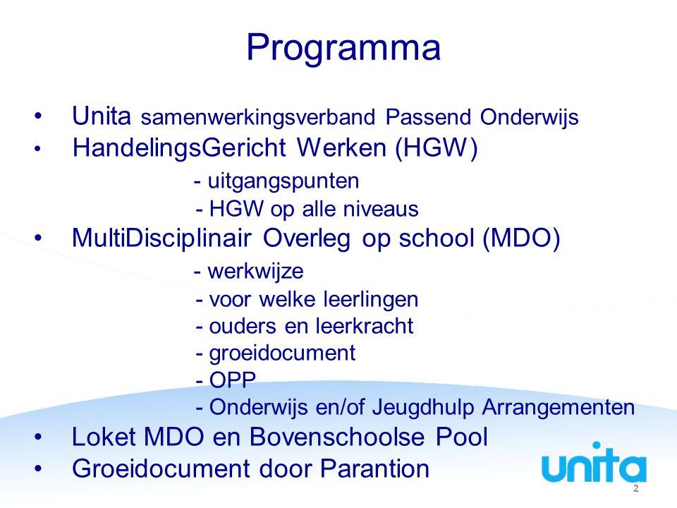Programma Unita samenwerkingsverband Passend Onderwijs