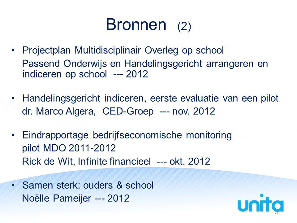 Bronnen (2) Projectplan Multidisciplinair Overleg op school