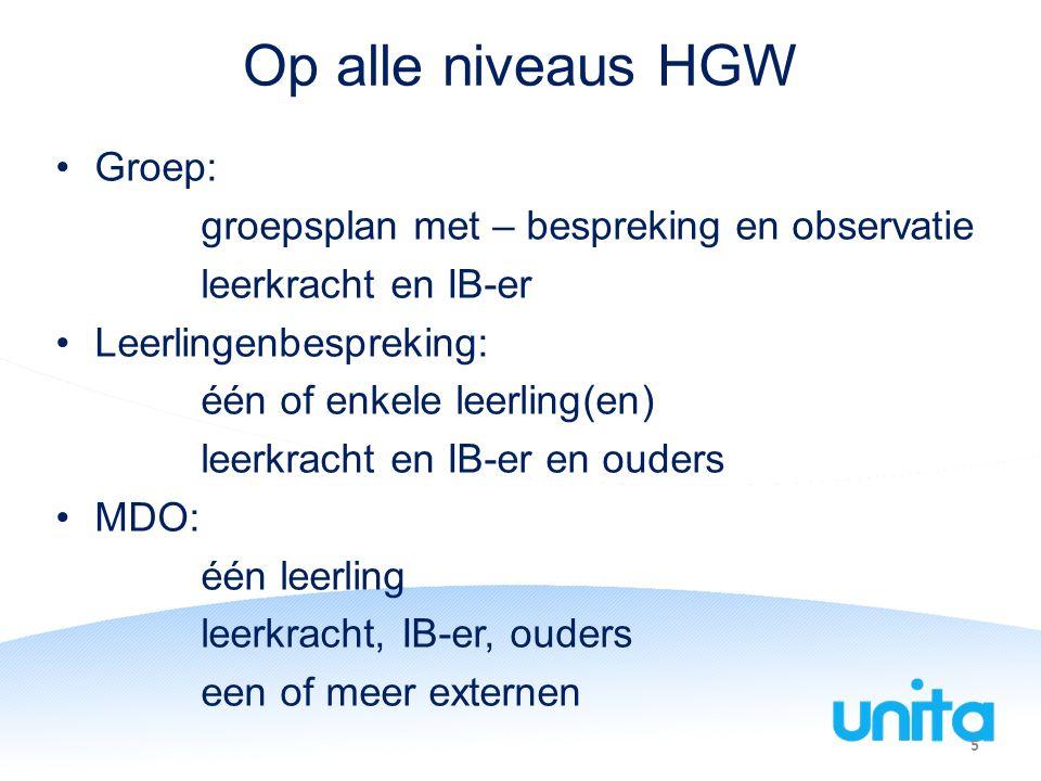 Op alle niveaus HGW Groep: groepsplan met – bespreking en observatie