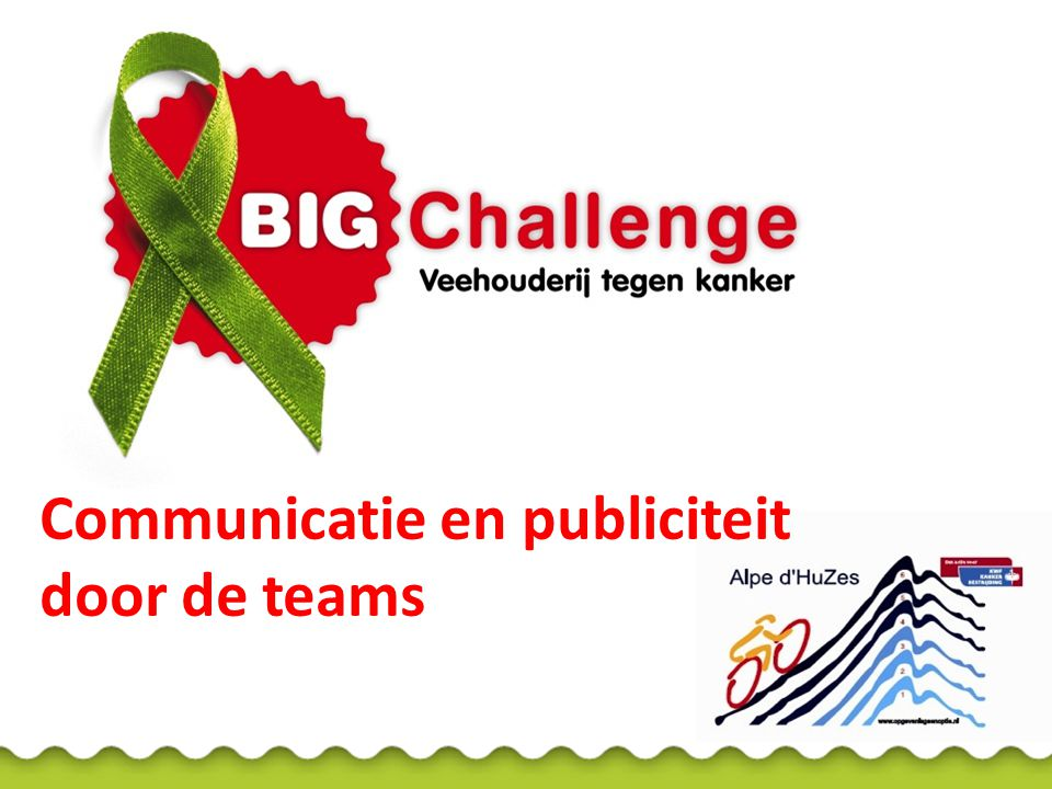 Communicatie en publiciteit door de teams