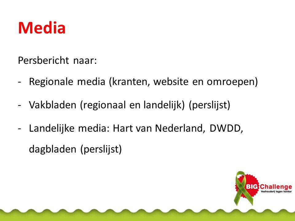 Media Persbericht naar: Regionale media (kranten, website en omroepen)