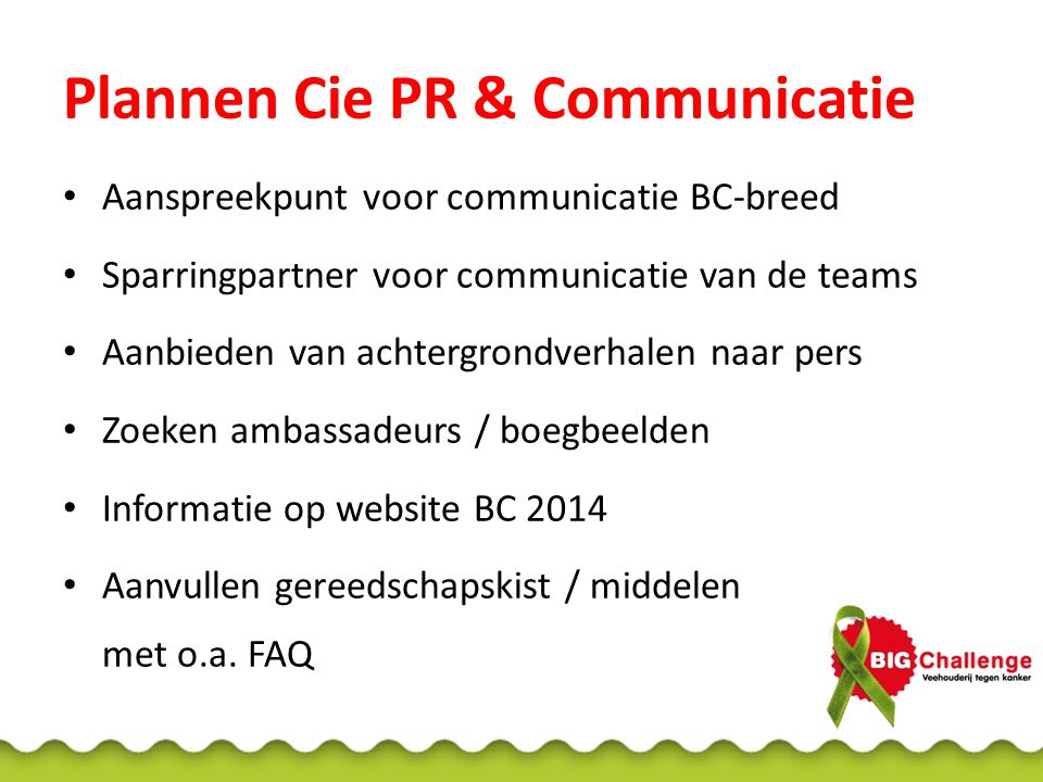 Plannen Cie PR & Communicatie