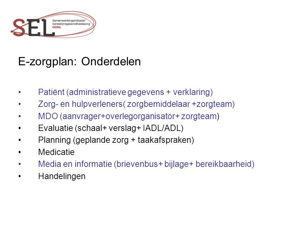 E-zorgplan: Onderdelen
