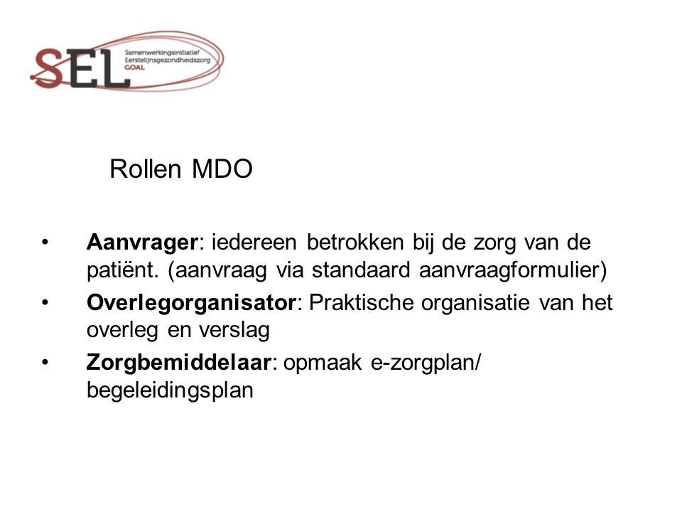 Rollen MDO Aanvrager: iedereen betrokken bij de zorg van de patiënt. (aanvraag via standaard aanvraagformulier)