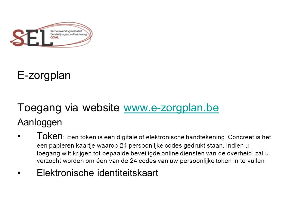 Toegang via website www.e-zorgplan.be